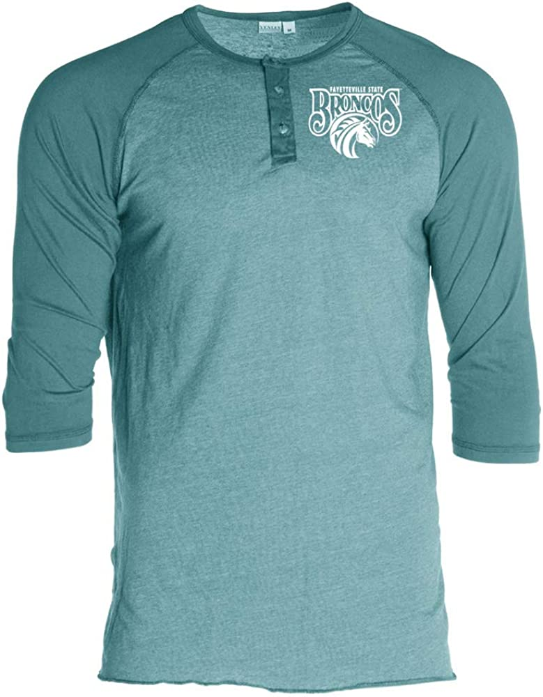 Official NCAA Fayetteville State Broncos PPFYU033 Unisex 3//4 Sleeve Button Raglan