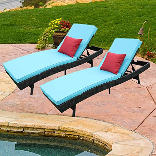 Do4U Adjustable Patio Outdoor Furniture Rattan Wicker Chaise Lounge Chair Sofa Couch Bed with Turquoise Cushion (5997-TRQ-2 Sets)