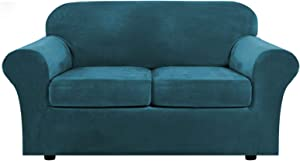 Real Velvet Plush 3 Piece Stretch Sofa Cover Velvet-Sofa Slipcover Loveseat Cover Furniture Protector Couch Soft Loveseat Slipcover for 2 Cushion Couch with Elastic Bottom(Loveseat,Deep Teal)