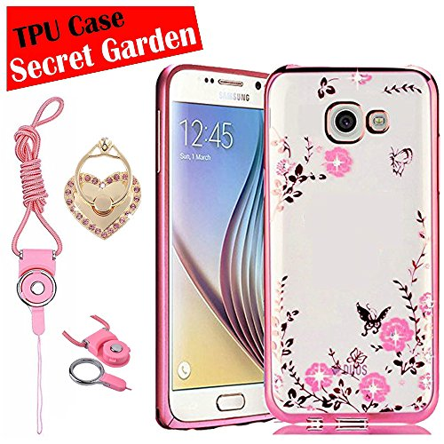 Samsung Galaxy J5 Prime Case, [eBuyLife] Soft Clear TPU Case Cover, Transparent Clear Back Case, secret garden diamonds protector, with Lanyard Heart Ring Metal Stand case for On5 (Rose Gold)