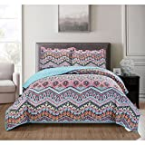 3 Piece Exotic Floral Chevron Pattern Quilt Set Queen Size, Printed Garden Wild Flowers Zigzag Herringbone Bedding, Modern Tribal Pastel Medallion Theme, Nature Lovers Artwork Design, Pink, Turquoise