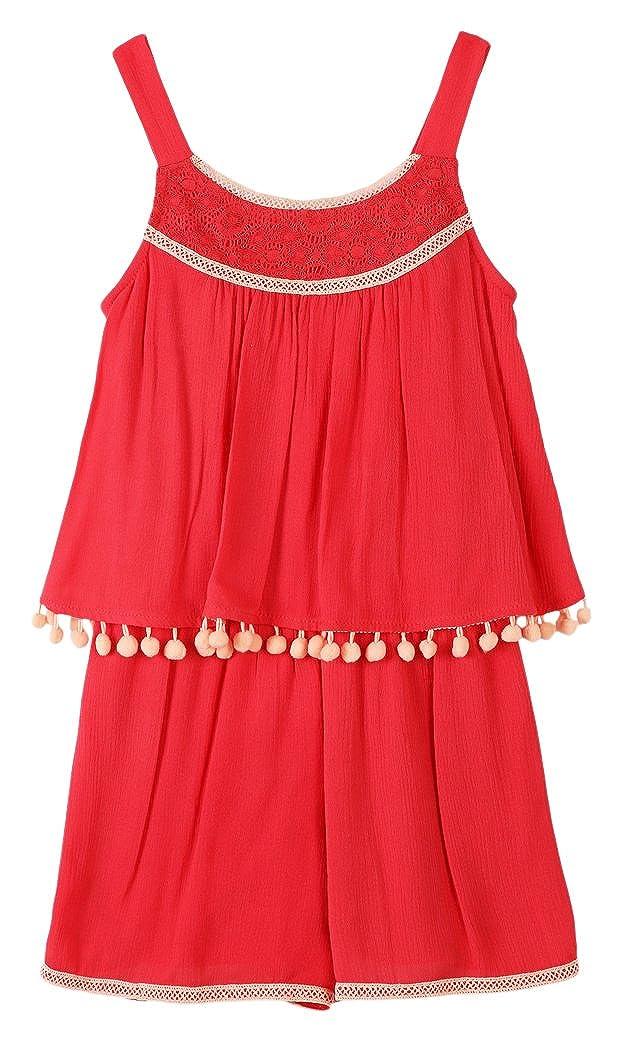 dbb3e6891ab Amazon.com  Speechless Girls  Big Pom Pop Over Romper  Clothing