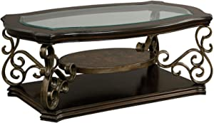 WEVIVU Glass Top Cocktail Tables Living Room Traditional Glass Top Coffee Table with Fixed Shelf, 52