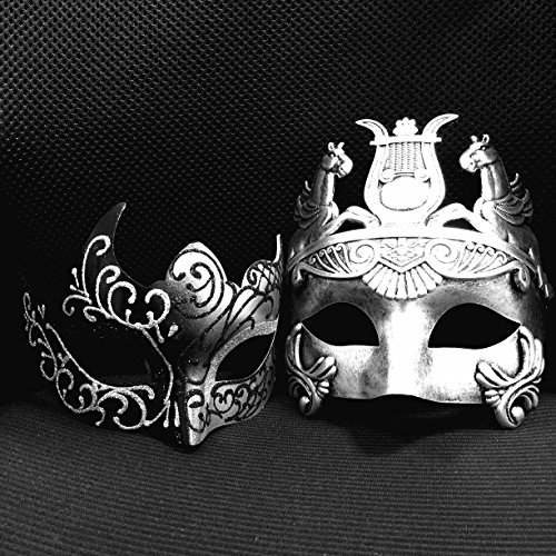 Silver / Black Glitter Women Mask & Silver Roman Warrior Men Mask Venetian Couple Masks For Masquerade / Party / Ball Prom / Mardi Gras / Wedding / Wall Decoration - Roman Theatre Costumes And Masks