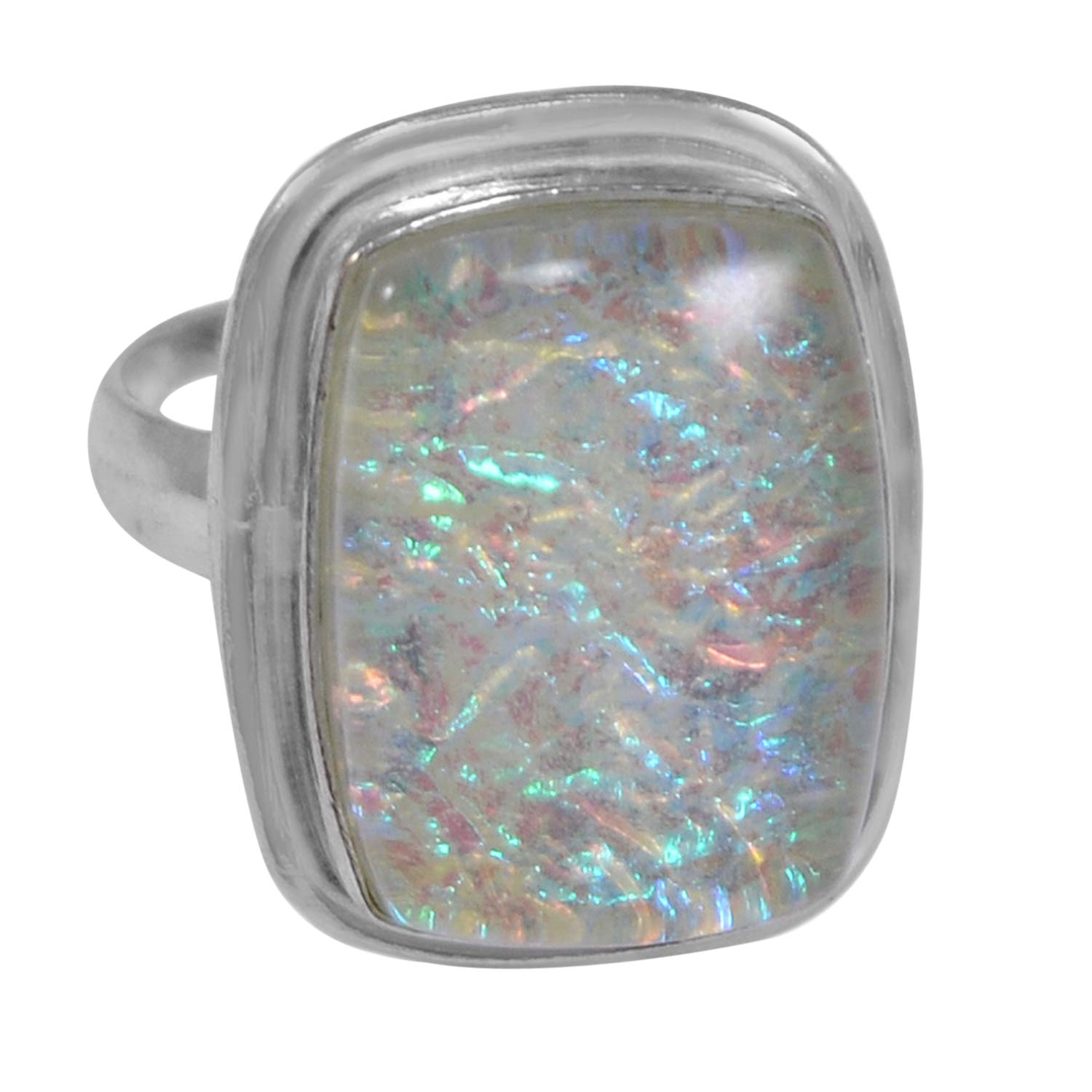Saamarth Impex Dichroic Glass Gemstone 925 Silver Plated Ring Sz 7 PG-117174