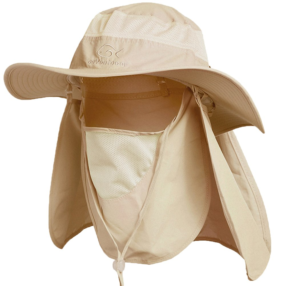 Ddyoutdoor trade; 07-281 Fashion Summer Outdoor Sun Protection Fishing Cap Neck Face Flap Hat Wide Brim (Khaki)