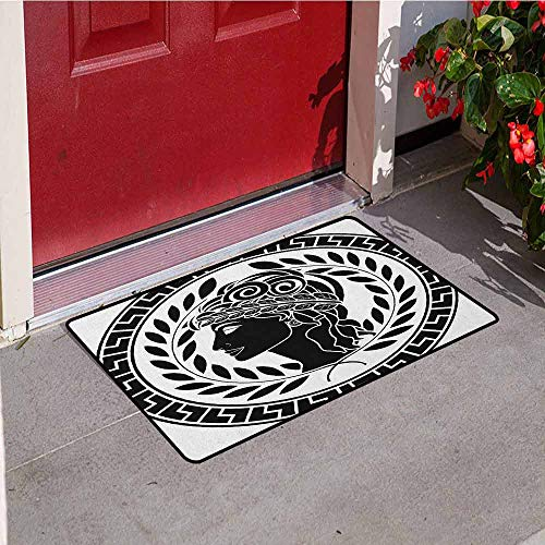 (GloriaJohnson Toga Party Inlet Outdoor Door mat Roman Antique Beauty Muse Portrait Patrician Woman Old Fashion Aesthetic Icon Catch dust Snow and mud W31.5 x L47.2 Inch Black White )