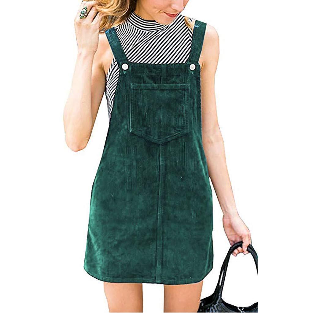 iYBUIA Womens Corduroy Suspender Skirt Mini Bib Overall Pinafore Dress with Pocket Green