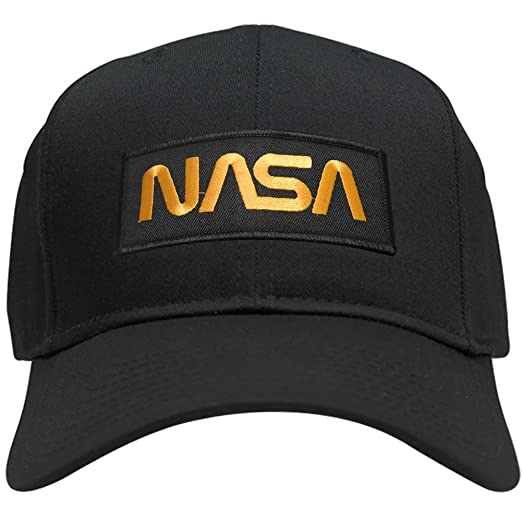 d2d5d12dc NASA Worm Gold Text Embroidered Iron On Patch Snapback Baseball Cap ...