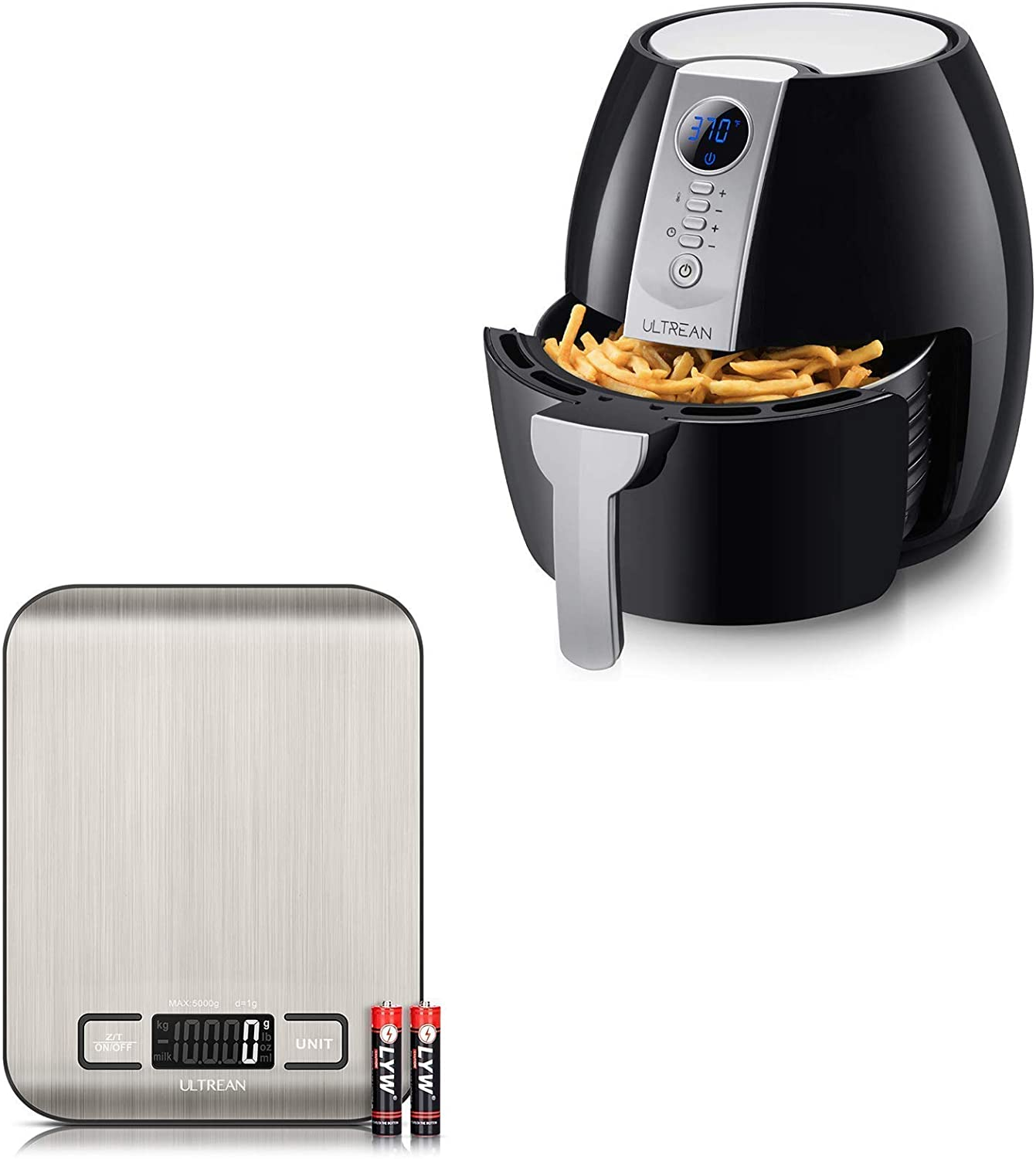 Ultrean Digital Food Scale and Ultrean 4.2 Quart (4 Liter) Air Fryer
