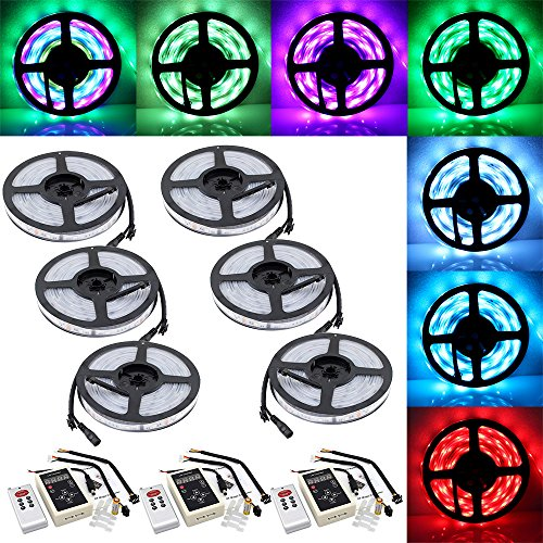 IWISHLIGHT™ 98.4ft 30M SMD 5050 Dream Magic RGB Color LED Color Flexible Light Strip IP67 Water-resistant + IC6803 IC Chip + 133 Change RF Remote Controller -  Imports Decor, 0063976799814