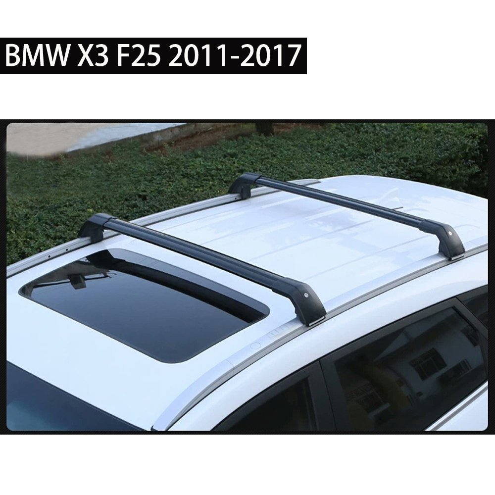 Fit for BMW X3 F25 2011-2017 Lockable Baggage Luggage Racks Roof Racks Rail Cross Bar Crossbar - Black KPGDG