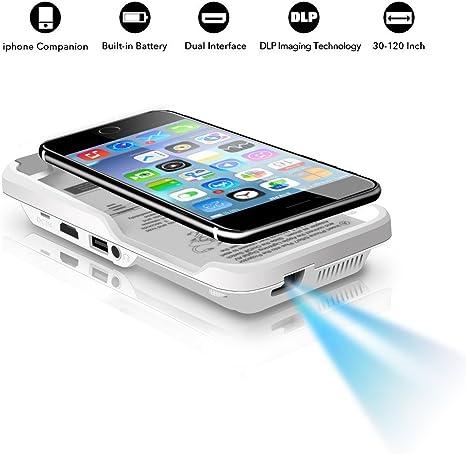OTHA Portable Mini Vidéo Projecteur pour iPhone 7/6 / 6s Plus 100 ANSI Lumens LED 854 x 480 HDMI - Cinéma Maison DLP Projecteur pour Cinéma TV Partage ...