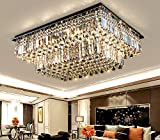 Cheap Siljoy Modern Raindrop Crystal Chandelier Lighting Rectangular Flush Mount Ceiling Light Fixture L35.4″ x W 27.6″ x H14″