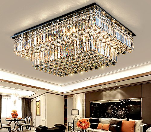 Chandelier Rectangular Nickel (Siljoy Modern Raindrop Crystal Chandelier Lighting Rectangular Flush Mount Ceiling Light Fixture L35.4