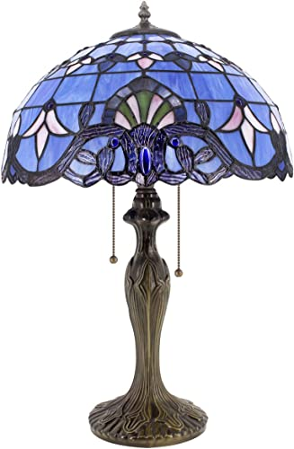 Tiffany Lamp Stained Glass Desk Light W16H24 Inch Tall Blue Purple Baroque Lavender Shade Antique Base S003C WERFACTORY LAMPS Lover Friends Kids Living Room Bedroom Bedside Coffee Bar Art Crafts Gift