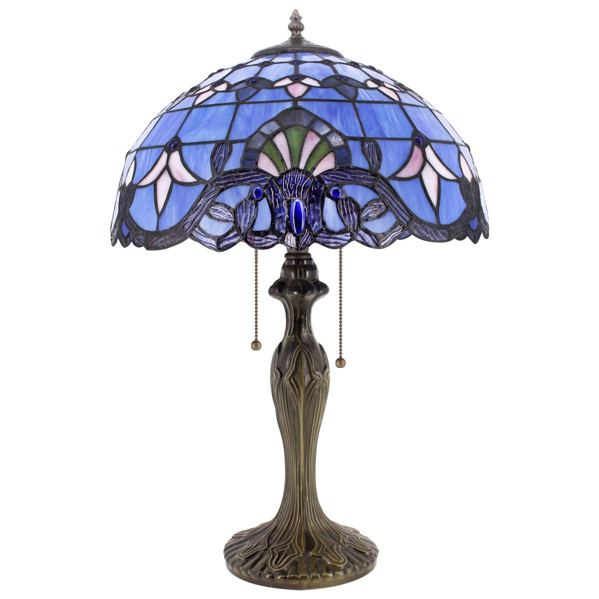 Tiffany Lamp Stained Glass Desk Lamps 24 Inch Tall Blue Purple Baroque Lavender Shade 2 Light Antique Base for Living Room Bedroom Desk Beside Coffee Table Dresser Set S003C WERFACTORY