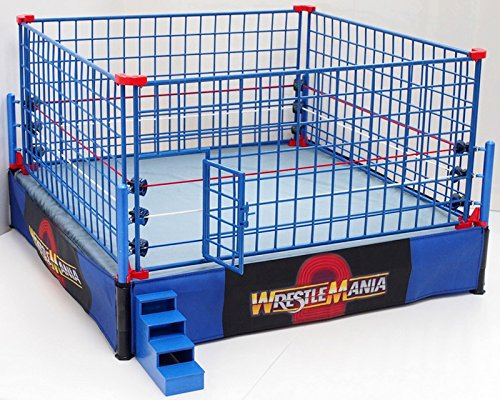 WWE Authentic Scale Ring with Steel Cage Match! (Classic Wrestle Mania version) (Steel Gloss Ring)