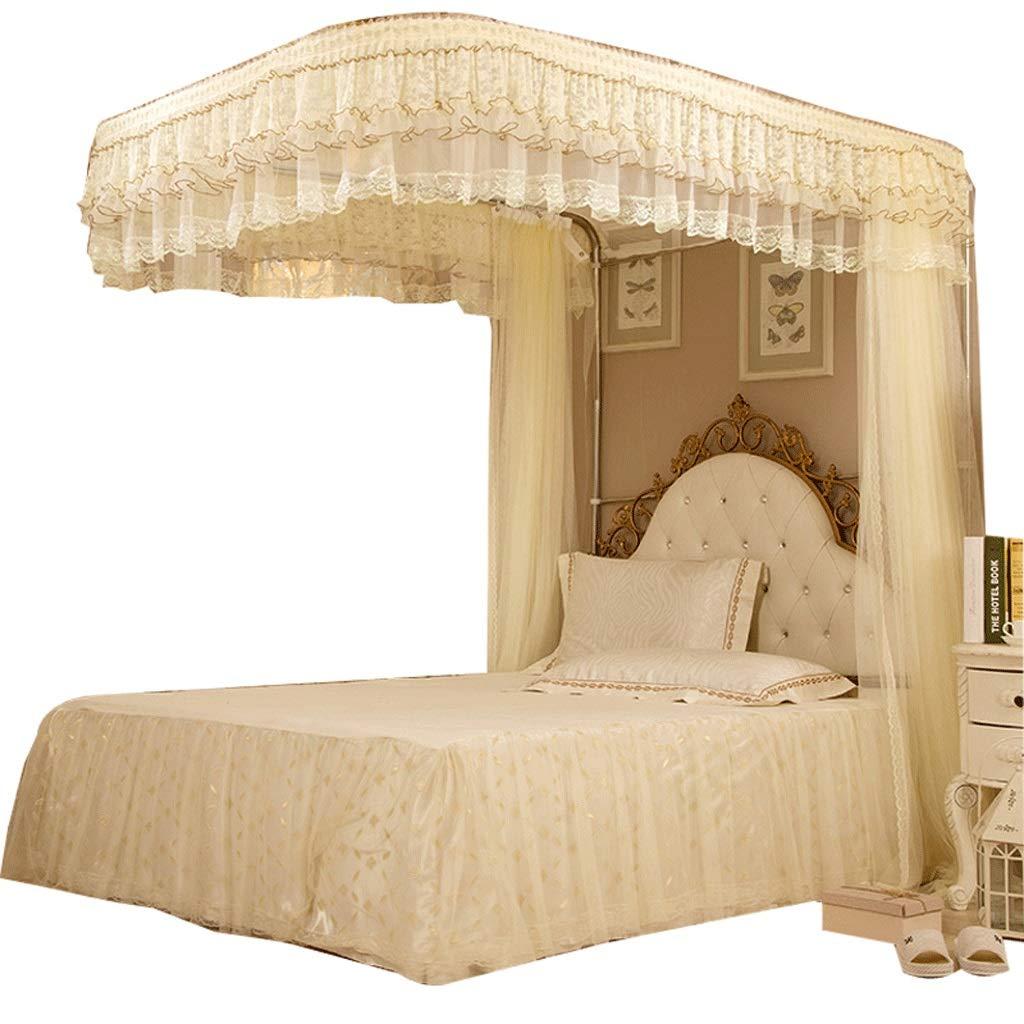 蚊帳1.5 / 1.8 / 2 / 1.8 * 2.2mベッドU字型ガイドトラック3ドア乗場階二重格納式蚊帳 (色 : ベージュ, サイズ さいず : Bed 1.8*2.2m) Bed 1.8*2.2m ベージュ B07RSKVTFZ