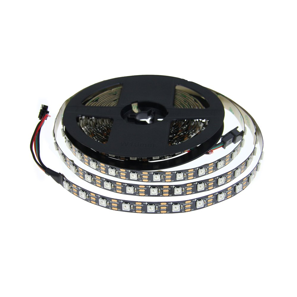 ALITOVE 16.4ft WS2812B Individually Addressable LED Strip 5m 300 LED Pixel Flexible Light 5050 SMD Black PCB Not Waterproof DC 5V: Amazon.es: Iluminación