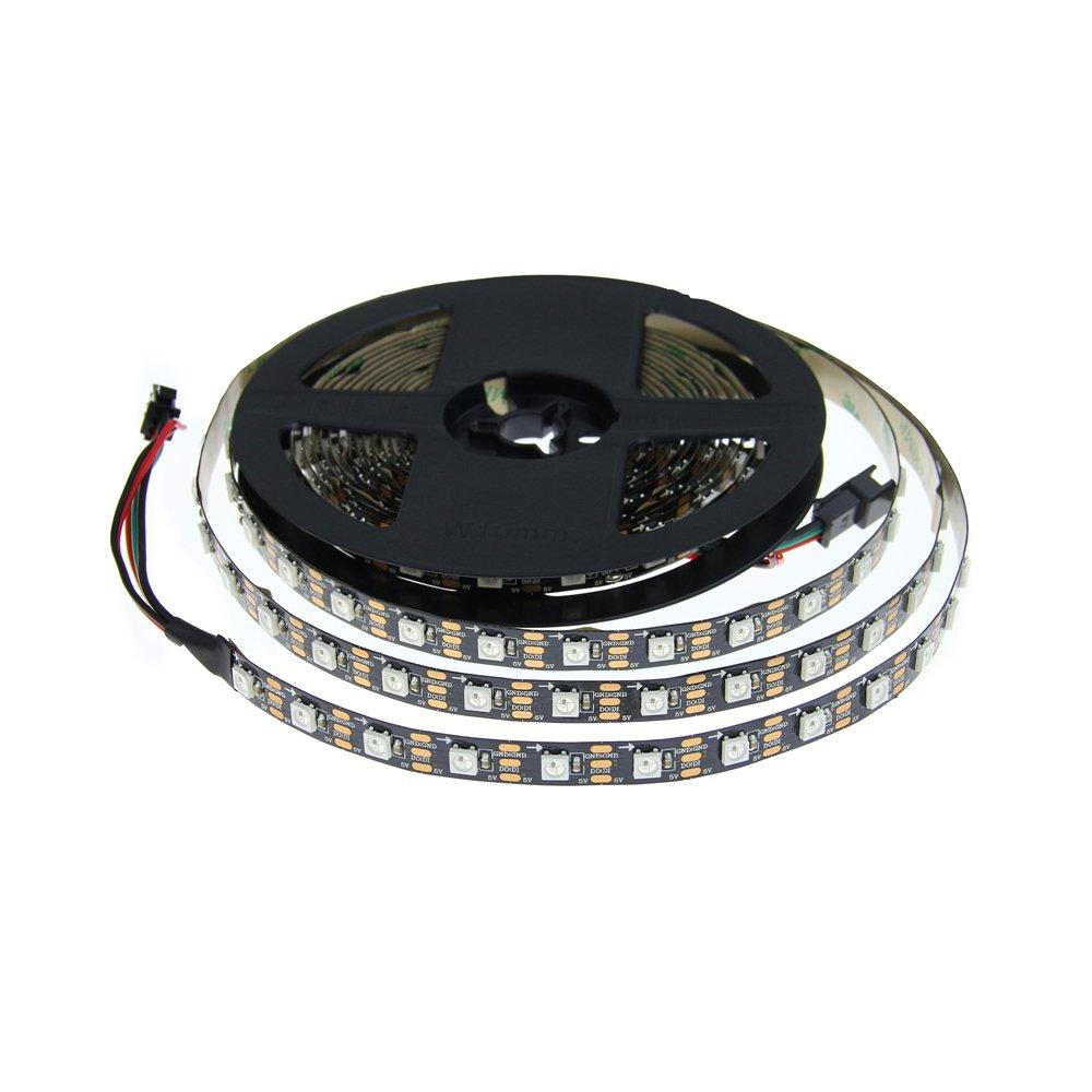 ALITOVE 16.4ft WS2812B Individually Addressable LED Strip 5m 300 LED Pixel Flexible Light 5050 SMD Black PCB Not Waterproof DC 5V: Amazon.es: Iluminación
