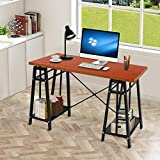 JOO Life Office Computer Desk 48'' Adjustable Height Study Table for Workstation Home Office with StorageShelf- Wood & Metal