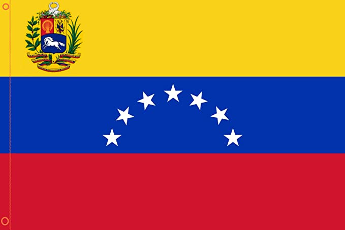 Durabol Bandera de Venezuela 7 Estrellas Flag 90x150cm Satin 2 Anillas metálicas fijadas en el Dobladillo: Amazon.es: Hogar