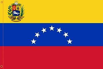 DURABOL Bandera de Venezuela 7 Estrellas flag 90x150cm SATIN 2 anillas metálicas fijadas en el dobladillo: Amazon.es: Jardín