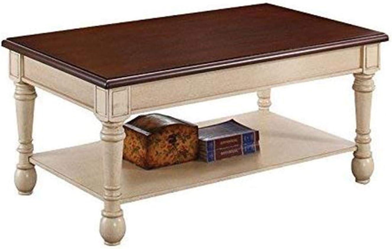 Amazon Com Rectangular Coffee Table Dark Cherry And Antique White Furniture Decor