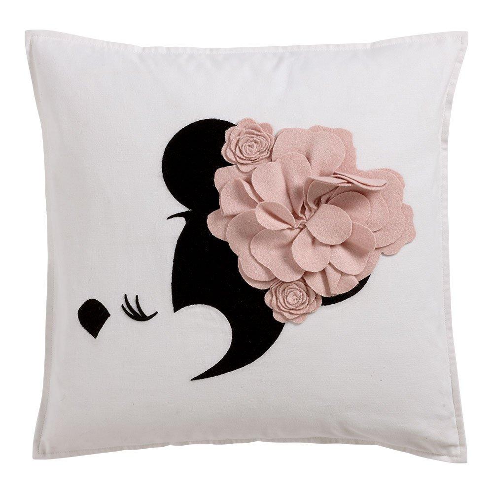 Ethan Allen | Disney Minnie Mouse Floral Flourish Pillow, Petal (Light Pink)