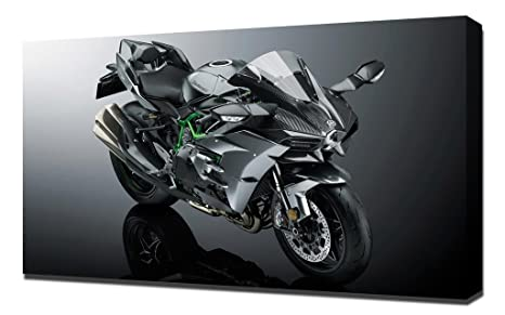 Amazon.com: Pingoo Prints Kawasaki Ninja H2 New - Canvas Art ...