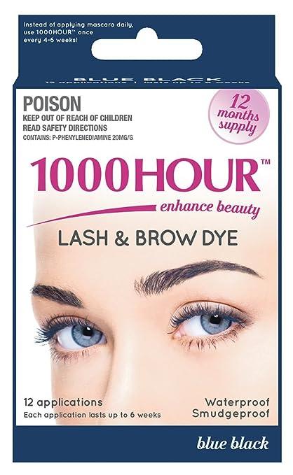 1000 Hour Eyelash & Brow Dye/Tint Kit Permanent Mascara (Blue-Black)