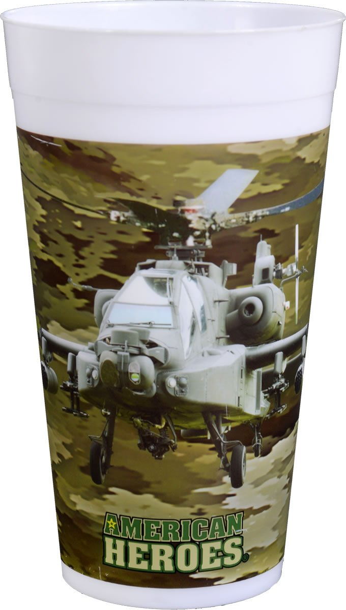 Club Pack American Heroes Military Camo - Apache Printed Plastic 22 Ounce Stadium Cups Box of 48