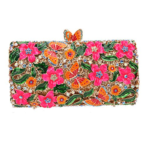 Fawziya Butterfly Clutch Chain Purse Box Clutch Evening Bags-Fuchsia ()