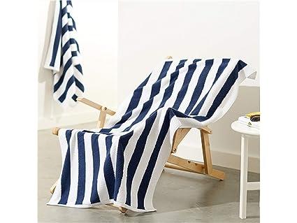 FERFERFERWON Suministros de baño Hotel Quality Towel Toalla de baño cómoda de algodón (Rayas Azules