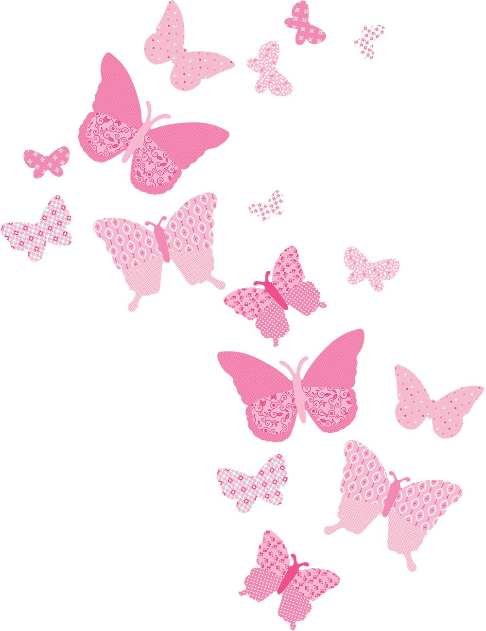 Amazon.com: Funtosee Vintage Butterfly Wall Decals, Pink: Baby for Butterfly Wall Decor Pattern  56bof