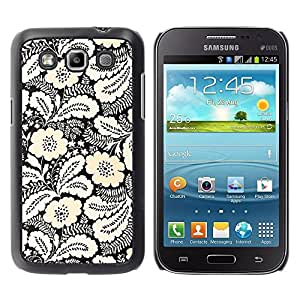 Be Good Phone Accessory // Dura Cáscara cubierta Protectora Caso Carcasa Funda de Protección para Samsung Galaxy Win I8550 I8552 Grand Quattro // Ink White Black Floral Pattern Styli