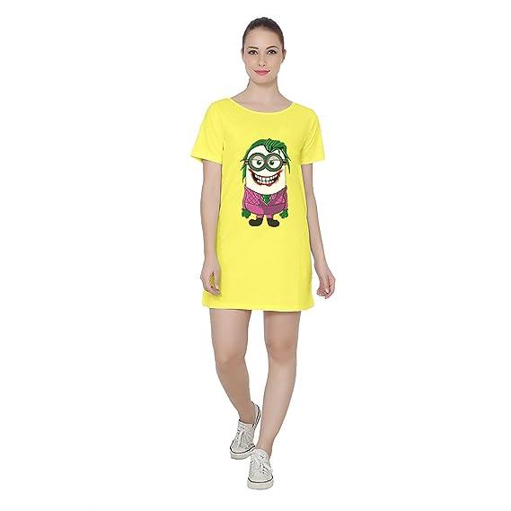d0966d0495 Women s Minion Joker Printed Boat Neck Half Sleeve Cotton Yellow T-Shirt