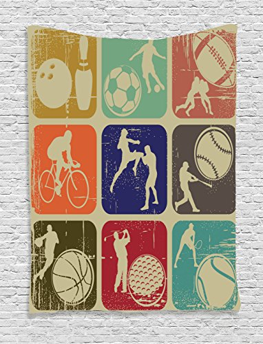 Ambesonne Sports Decor Tapestry, Assorted Sports Banners in Vintage Grunge Effect Tennis Soccer Bowling Sports Pub Theme Decor, Bedroom Living Room Dorm Decor, 40 W x 60 L inches, Multi by Ambesonne