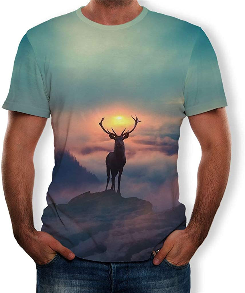 Mens Summer Casual 3D elk Printing Elastic T-Shirt Blouse Tops Dumanfs Mens Summer Clothing