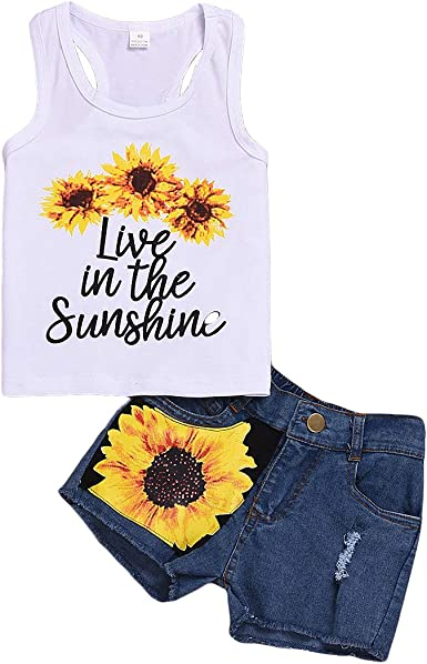 Toddler Infant Baby Girl Boy Outfits Short Sleeve Sunflower T-Shirt Tops Ripped Jeans Shorts 2Pcs Summer Clothes Set