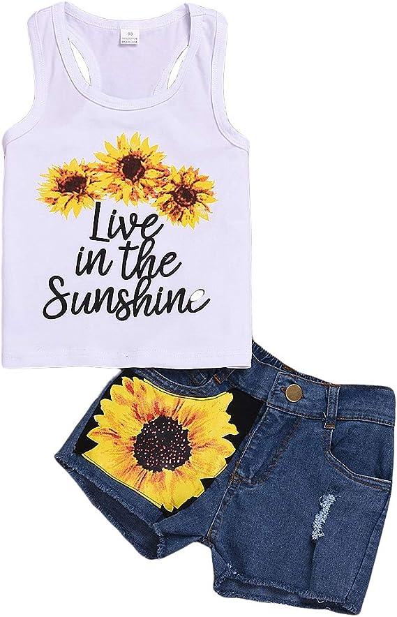 Honganda Fashion 2Pcs Toddler Kids Baby Girl Sunflower Outfits Sleeveless Tank Top+Denim Shorts Summer Clothes