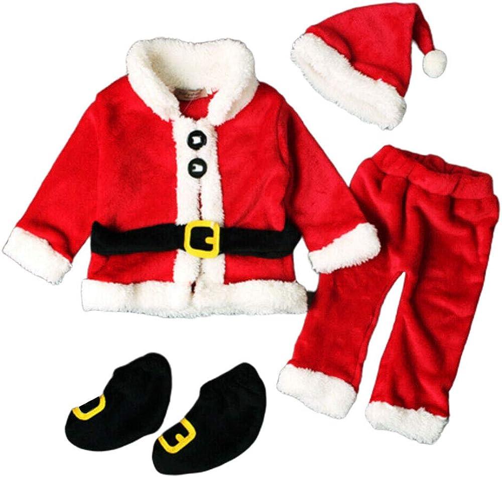Pants Tops BEST 4Pcs Christmas Baby Santa Costume Hat Shoe Set Unisex Outfits