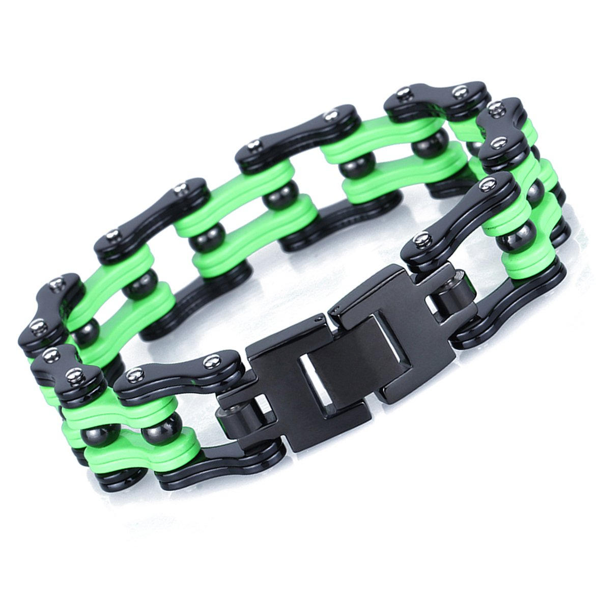 LEADCIN Titanium Steel Heavy Mens Bike Chain Bracelet 8.86 Inches, 17mm