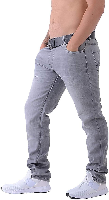 Crosshatch Mens Denim Jeans Wayne Coated Slim Fit Free Belt Straight Leg Pants
