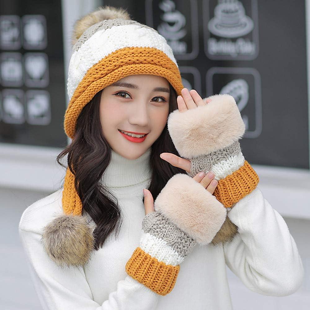 Stillshine Damen Winter Pl/üsch M/ütze Zwei Bommel M/ütze Handschuh Set Winterm/ütze Gestrickt M/ütze Hut Pl/üsch Futter Multicolor