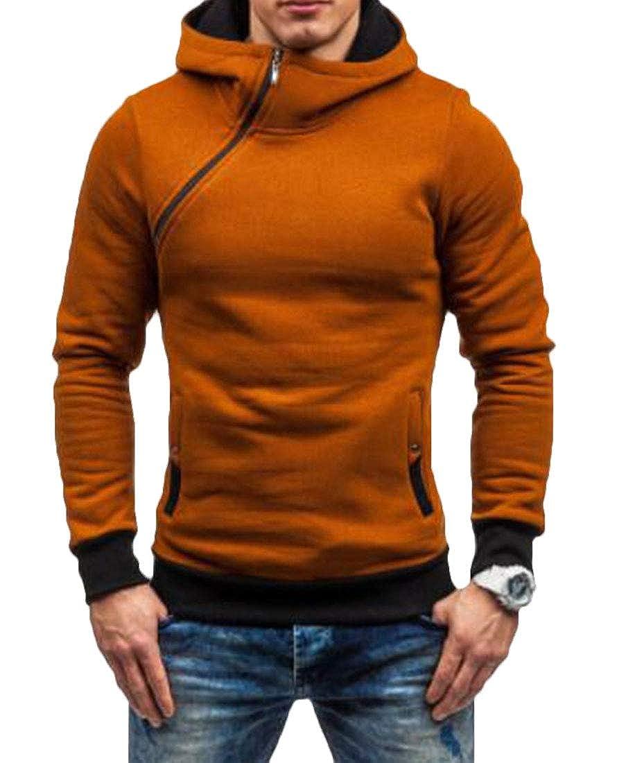 YUELANDE Men Zip Oblique Zipper Hooded Pullover Sweatshirt