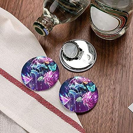 Abrebotellas redondos con forma de calavera y mariposa / Imanes de nevera Sacacorchos de acero inoxidable Etiqueta magnética 2 piezas