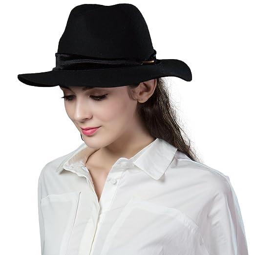 SIGGI Womens 100% Wool Felt Hat Winter Panama Floppy Fedora Hats with Band  Black 71cfa7cd49e0