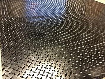 Checker Plate Rubber Garage Flooring Matting Heavy Duty 120cm Wide X 3mm Thick